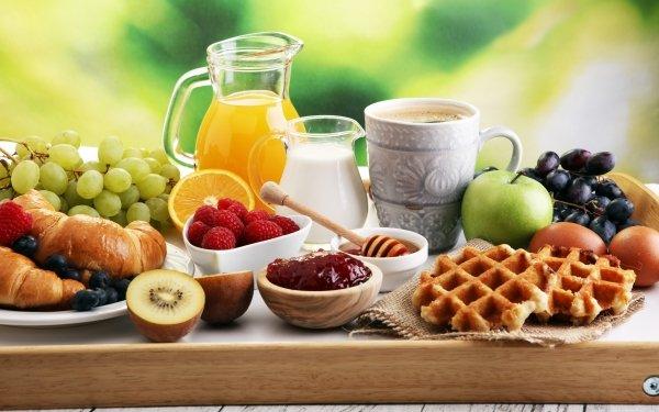 Alimento Desayuno Bodegón Café Cup Jugo Milk Miel Fruta Mermelada Gofre Croissant Fondo de pantalla HD | Fondo de Escritorio