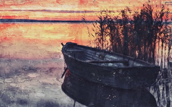 Artistic Painting Boat Sunset HD Wallpaper | Background Image