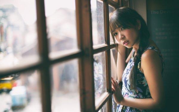 Kvinnor Asian Woman Model Flicka Brunette Braid Window HD Wallpaper | Background Image