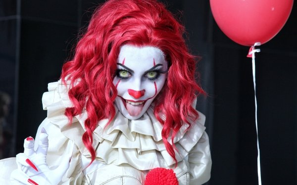 Women Cosplay Clown Balloon Red Hair Pennywise HD Wallpaper | Background Image