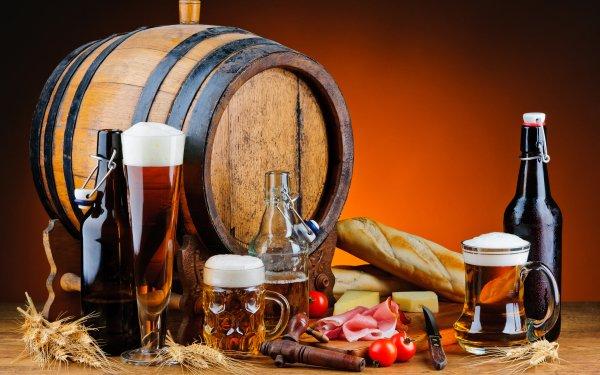 Food Still Life Barrel Beer Bottle Drink Alcohol HD Wallpaper | Background Image