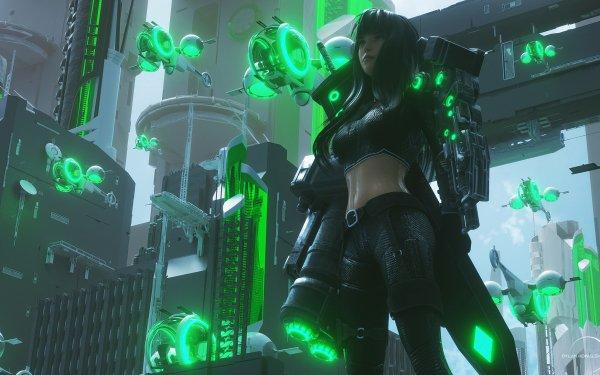 Sci Fi Cyberpunk Weapon HD Wallpaper | Background Image