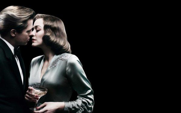 Movie Allied Marion Cotillard Kiss Brad Pitt HD Wallpaper | Background Image