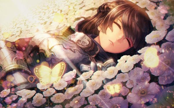 Anime Original Flower Resting Butterfly Fantasy HD Wallpaper | Background Image