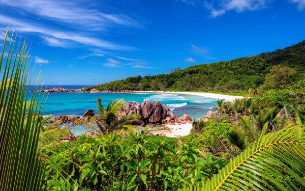 Tierra/Naturaleza Playa Seychelles Océano Fondo de pantalla HD | Fondo de Escritorio