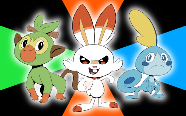 Videojuego Pokemon: Espada Y Escudo Pokémon Grookey Scorbunny Sobble Fondo de pantalla HD | Fondo de Escritorio