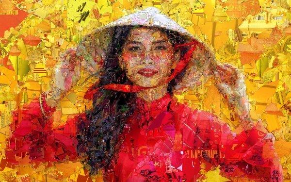 Women Artistic Mosaic Woman Asian HD Wallpaper | Background Image