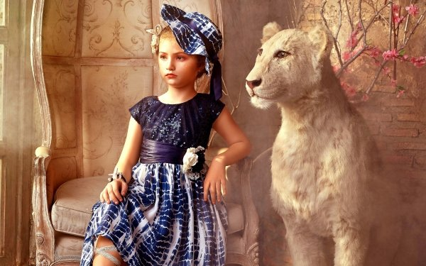 Women Artistic Portrait Vintage White Tiger HD Wallpaper   Background Image