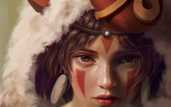 Anime Princess Mononoke Face Stare Brown Eyes HD Wallpaper | Background Image