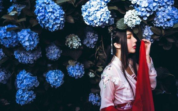 Women Asian Woman Model Flower Black Hair Hydrangea Blue Flower HD Wallpaper | Background Image