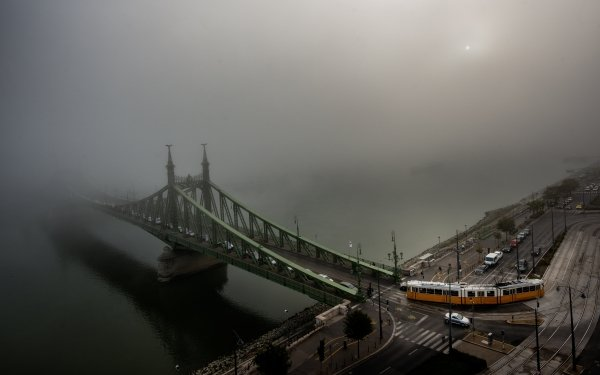 Man Made Budapest Cities Hungary River Danube Tram Fog Road HD Wallpaper | Background Image
